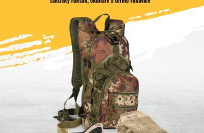 Súťaž o sadu doplnkov: taktický ruksak a okuliare s ochrannou mriežkou + termo rukavice